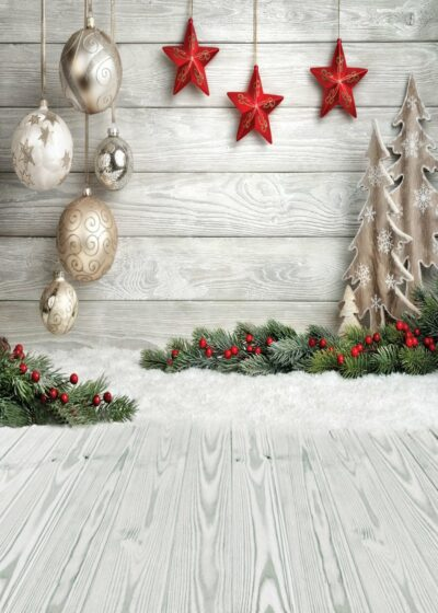 Holiday Wood and Ornaments Backdrop