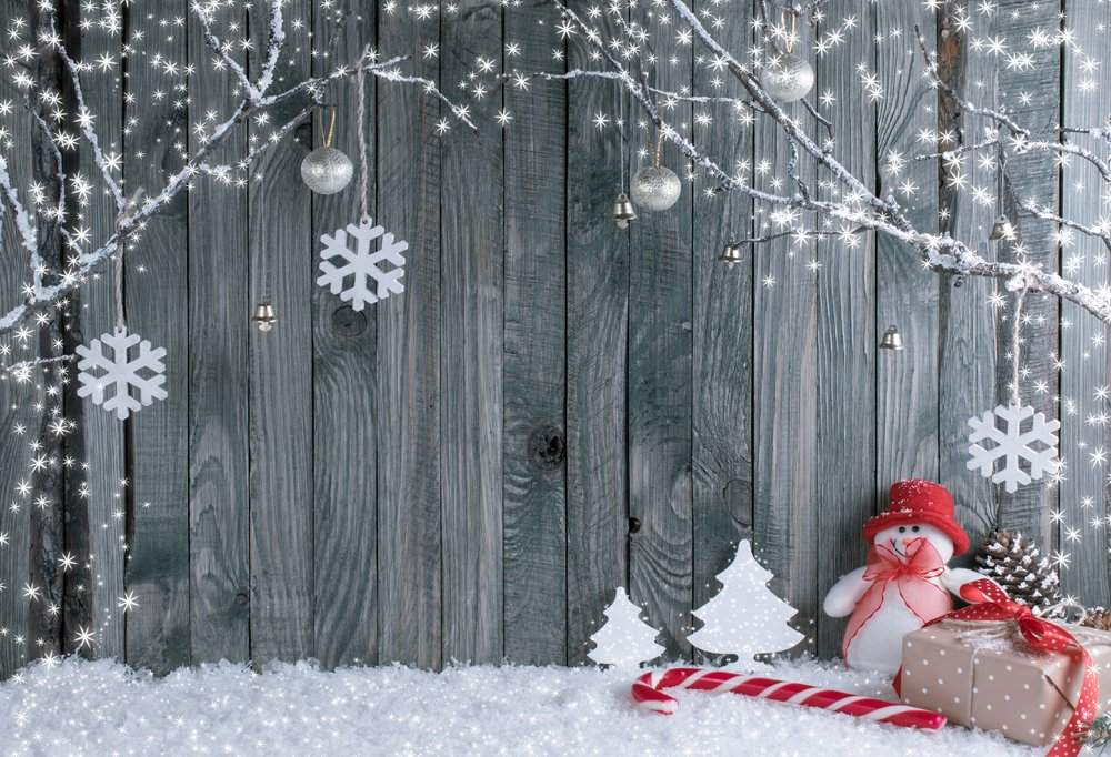 Holiday Wood and Snowman Backdrop